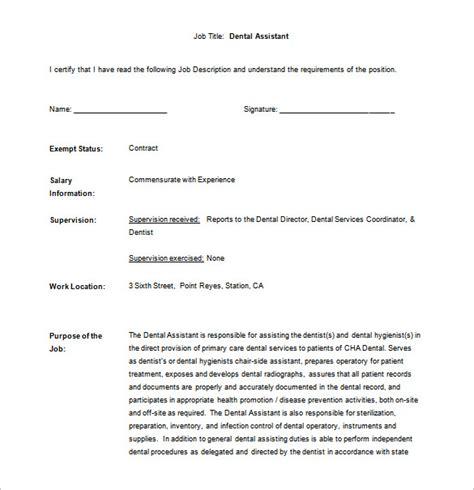 dental assistant description resume template sle