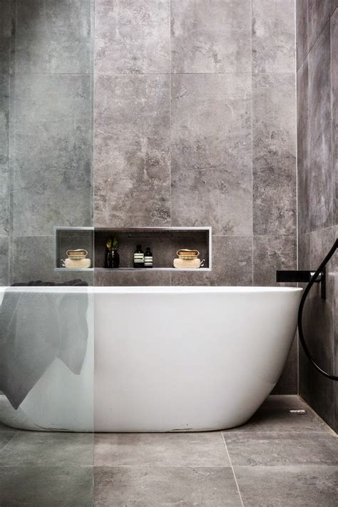 bathtub effect concrete effect bathroom tiles norse white design blog