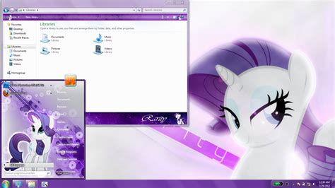 themes for windows 7 cute rarity windows 7 theme by matniky on deviantart