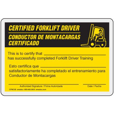 Forklift Operator Card Template by Free Forklift Certification Card Template Forklift