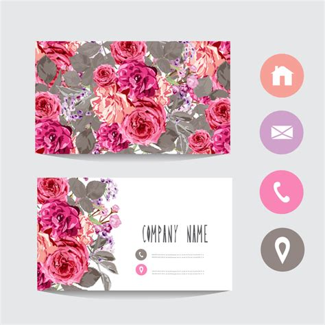 Flower Business Card Template With Society Icons Vector 05 Free Download Flower Business Card Template
