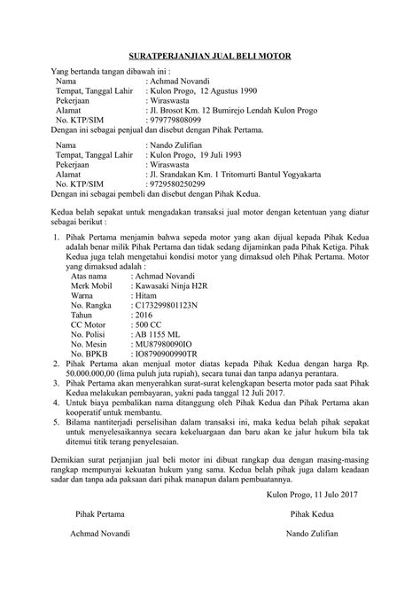 Herunterladen Contat Surat Perjanjian Jual Beli Motor Bekas