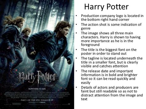 Harry Potter Analysis Essay by Conventions Of Posters And Analysis