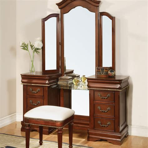 vanity set for bedroom chalet cherry arch top bedroom vanity set at hayneedle
