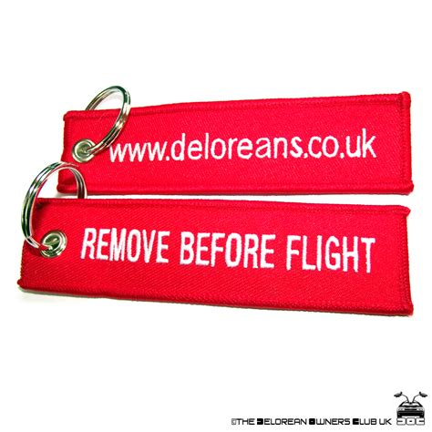 delorean owners club delorean owners club remove before flight keyring the