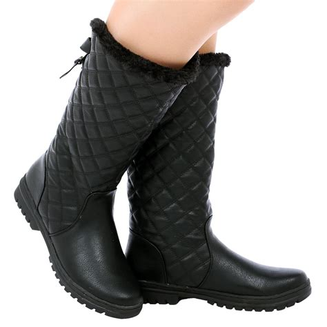 fur lined boots d6z womens quilted faux fur lined thick sole mid