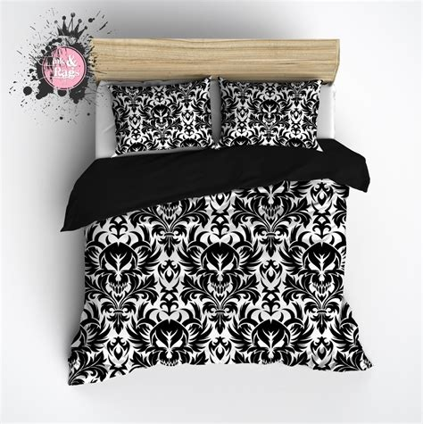 black and white damask bedding black and white damask skull bedding ink and rags