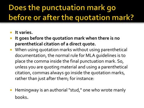 do you always put end punctuation inside quotation marks ppt a brief introduction to in text citations mla style