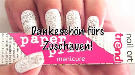 tutorial nail art paper essence paper print manicure nail art tutorial deutsche
