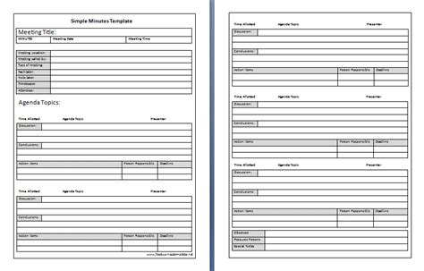 minute templates free simple minutes template best agenda templates