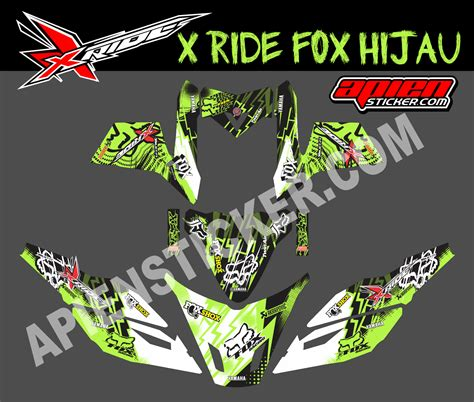 Sticker Decal Striping Dekal Stiker Klx 149 Glossy striping motor xride fox hijau apien sticker