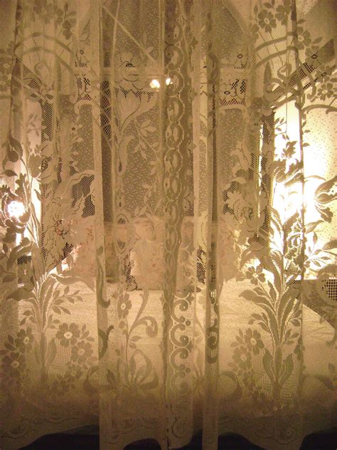Vintage Lace Curtains Vintajmercantile Vintage Lace Curtains Ecru Floral