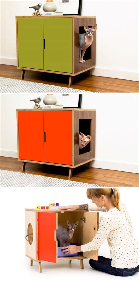 modern litter box cabinet these mid century modern inspired cabinets hide a cat s