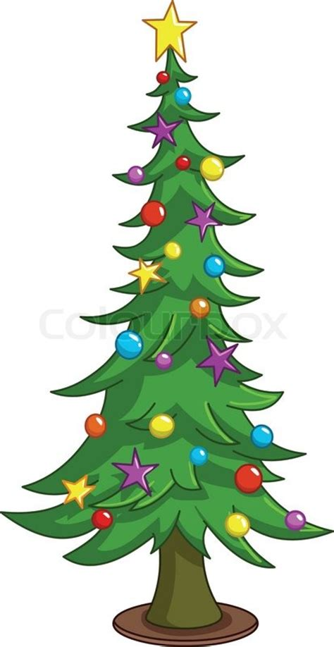 cartoon christmas tree december tree stock vector colourbox
