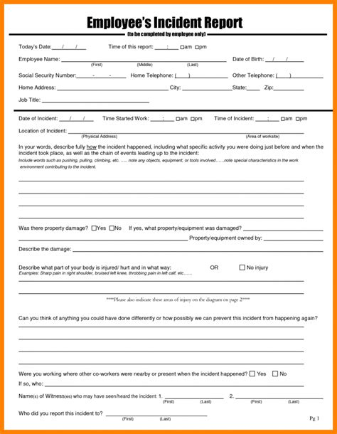 employee incident report template workplace incident report form template 28 images