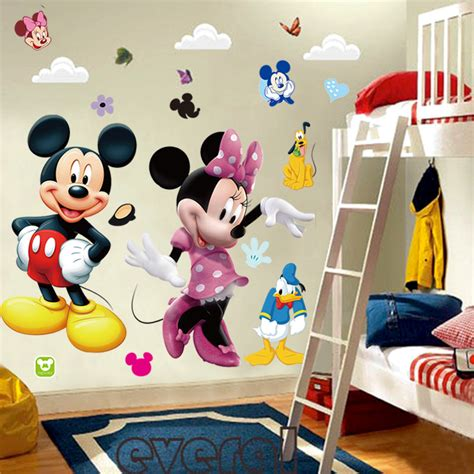 mickey mouse bedroom stickers mickey mouse minnie vinyl mural wall sticker decals kids