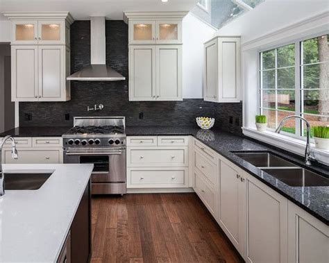 black backsplash in kitchen white hanging cabinet finish patterned black granite countertop outofhome kitchens design