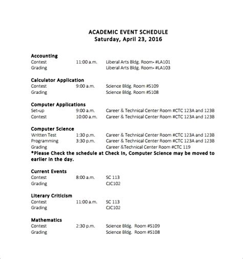 sample event schedule template   documents  word