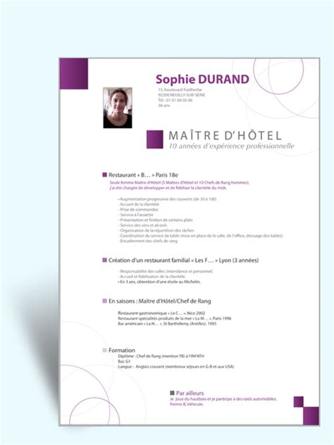 cv design hotellerie pin telecharger modele cv word original exemple design on