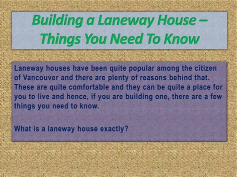 things you need for a house ppt building a laneway house things you need to know