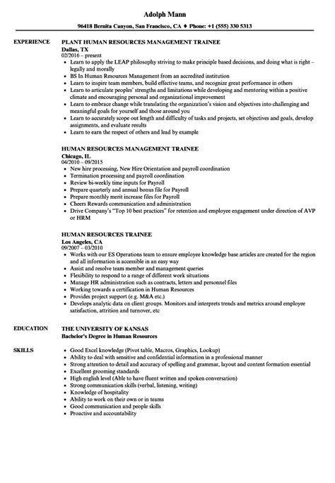 Human Resources Trainee Sle Resume by Human Resources Trainee Resume Sles Velvet