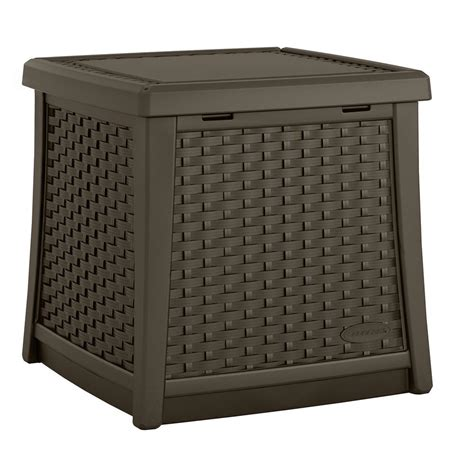 Side Tables With Storage Suncast Elements Resin Outdoor Side Table With Storage Bmdb1310 The Home Depot
