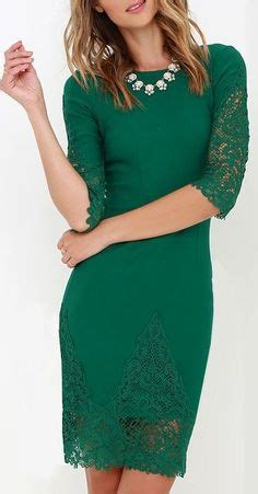 Colors Dress Rubia G411 boutique simple yet stunning lace open back three quarter sleeve dress in forest green 40