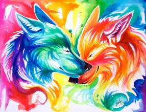 colorful wolf nuzzling rainbow wolves from a year ago image 2015045