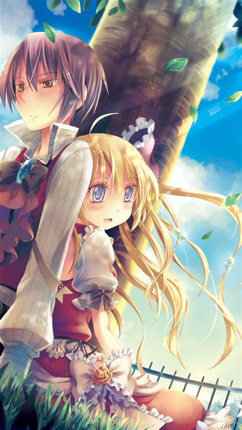 anime couple under a tree download 1080x1920 anime couple romance windy under the