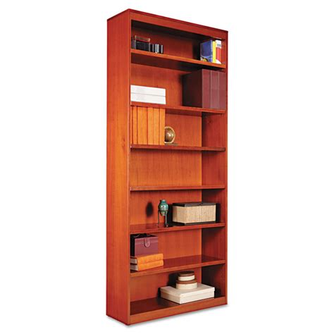 cherry wood corner bookcase alera 174 square corner wood bookcase seven shelf 35 5 8 x 11 3 4 x 84 medium cherry alera details