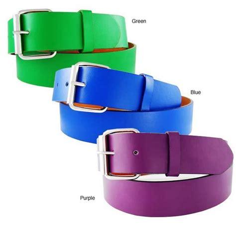 men s purple yellow studded faux leather belt