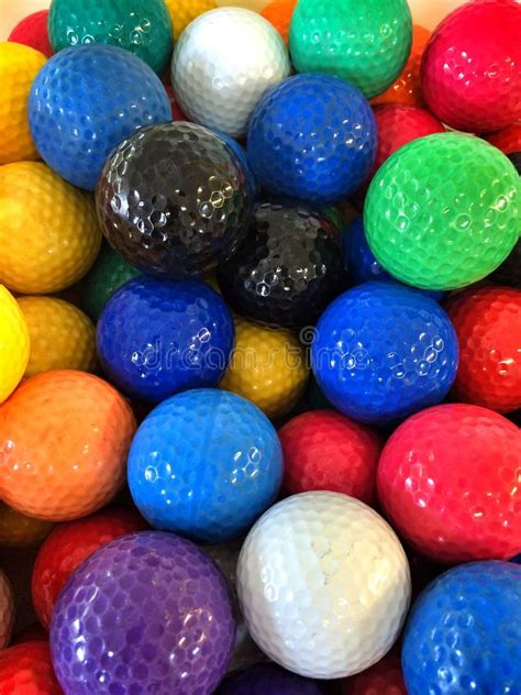colorful golf a bunch of colorful mini golf golf balls stock photo