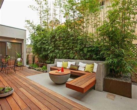 garten und terrassenmöbel terrassen ideen garten bambuspflanzen sichtschutz beton