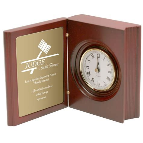Judges Personalized Book Clock with Brass Plate