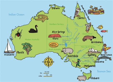 australia geographical features map geography australia
