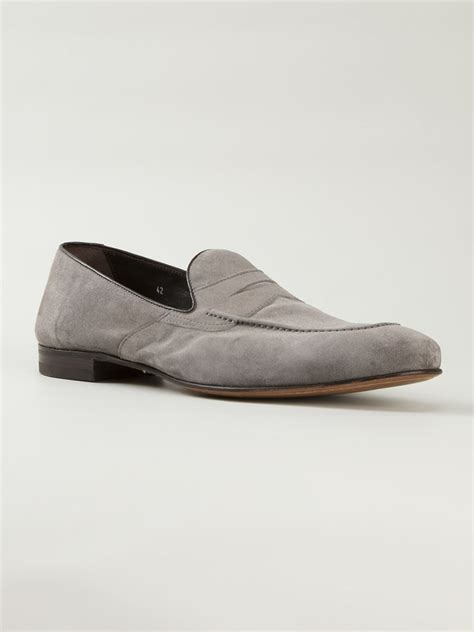 gray loafers henderson baracco classic loafers in gray for