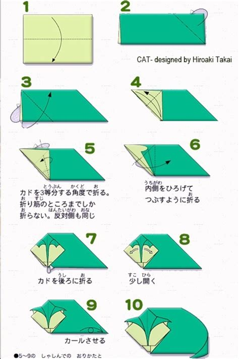 Cat Origami Diagram - simple origami cat origami