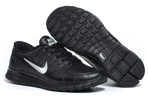 black leather running shoes nike free 5 0 leather mens black silver running shoes 495