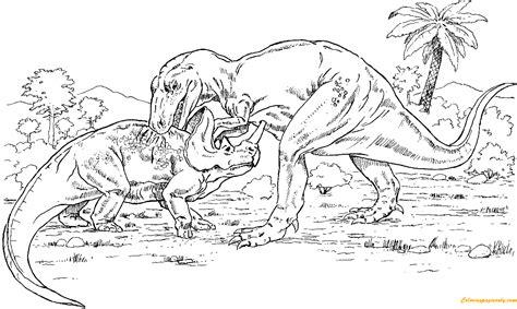 minecraft dinosaurs coloring pages gorgosaurus vs monoclonius from dinosaurs coloring page