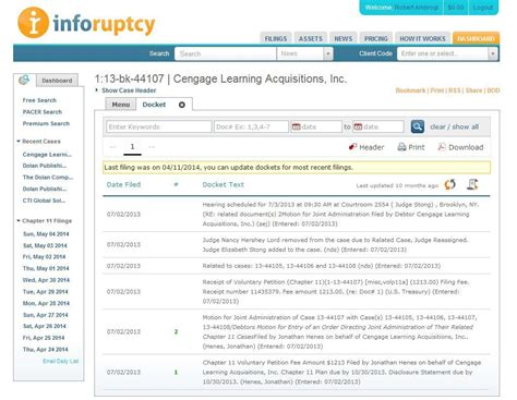 Bankruptcy Court Search Exclusive Bankruptcy Docket Search Site Inforuptcy To Add District Court Dockets