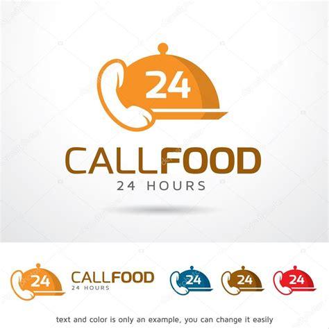 calling food 전화 음식을 24 시간 로고 템플릿 디자인 벡터 스톡 벡터