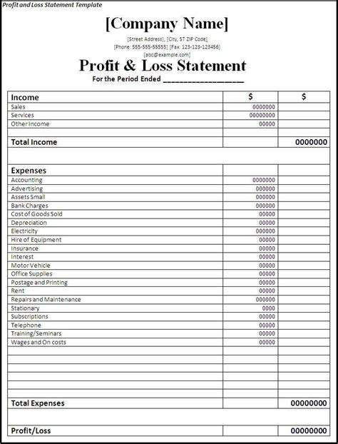 Simple Financial Report Template Monthly Statement Template Restaurant Profit And Loss Template Catering Profit And Loss Template