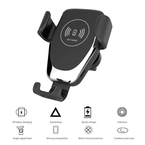 car mount qi wireless charger automatic clamping fast