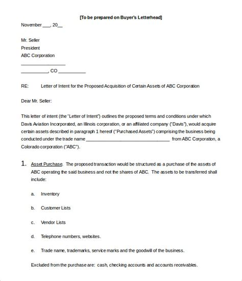 letter of intent to purchase business template free business letter of intent 11 free word pdf format