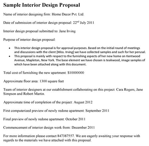 Interior Design Proposal Template Interior Design Fee Template