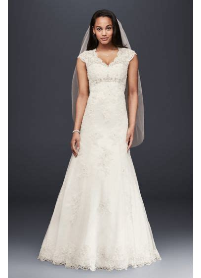 cap sleeve lace  satin wedding dress davids bridal