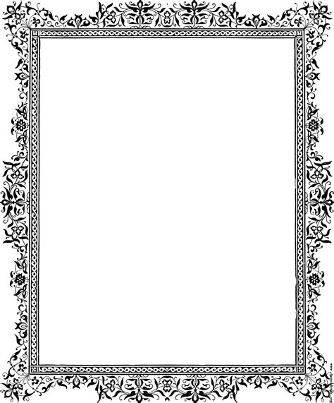 Decorative clip art Victorian border, Black and White