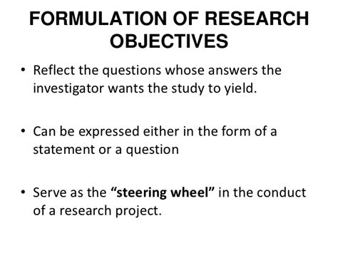 statement of objectives in research research process objective hypothesis lec2
