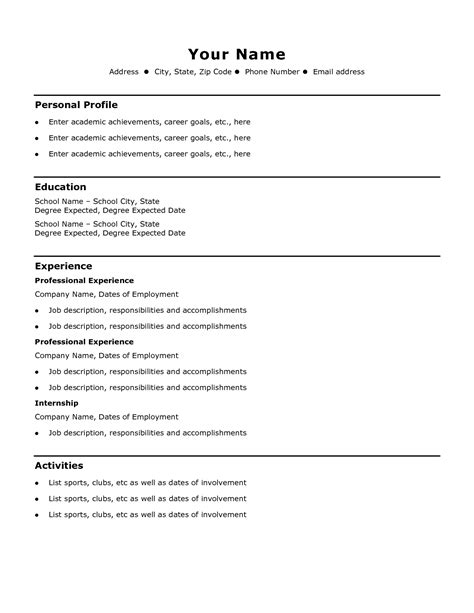 simple resume templates word exles of resumes resume simple best and format