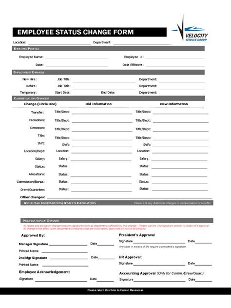 employee information form template free employee status change form 4 free templates in pdf